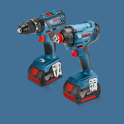 Toptopdeal Bosch 18V Li-ion Bluetooth Combi Drill & Impact Driver Twin Kit with 2 x 5.0Ah Batteries & Charger in Case