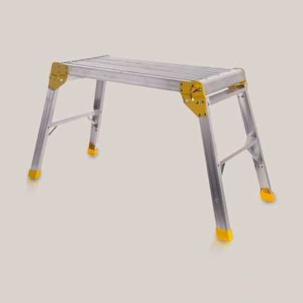 Toptopdeal-Excel 700mm Hop Up Step Ladder Odd Job Folding Stool Platform Aluminium Work Bench Folding Hop Up