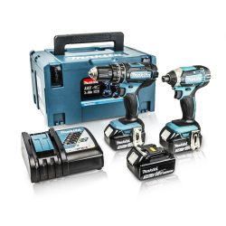 Toptopdeal-Makita DLX2131JX1 18v Cordless 2 Piece Kit DHP482 Combi + DTD152 Impact Driver Inc 3x 3Ah Batteries