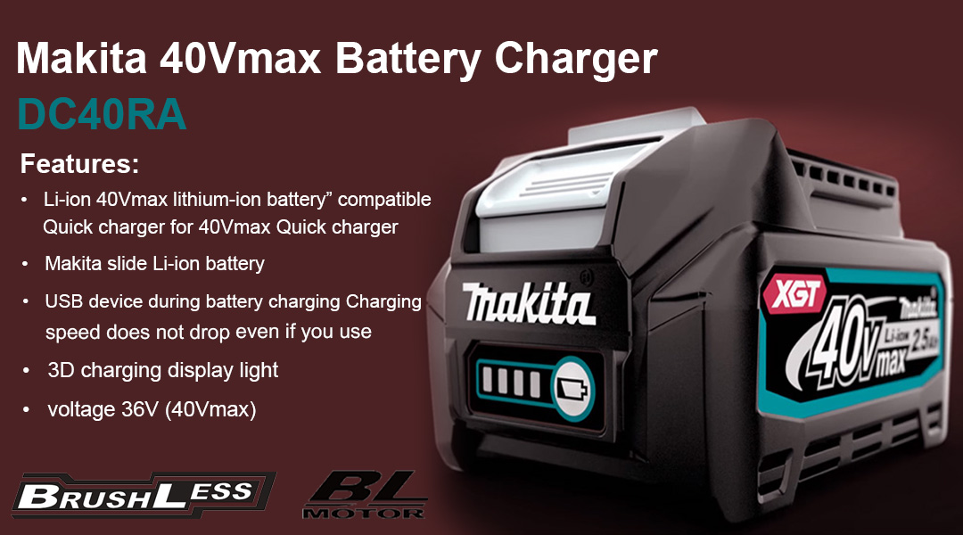 Makita 40Vmax Lithium-Ion Battery Charger DC40RA Toptopdeal topdeal