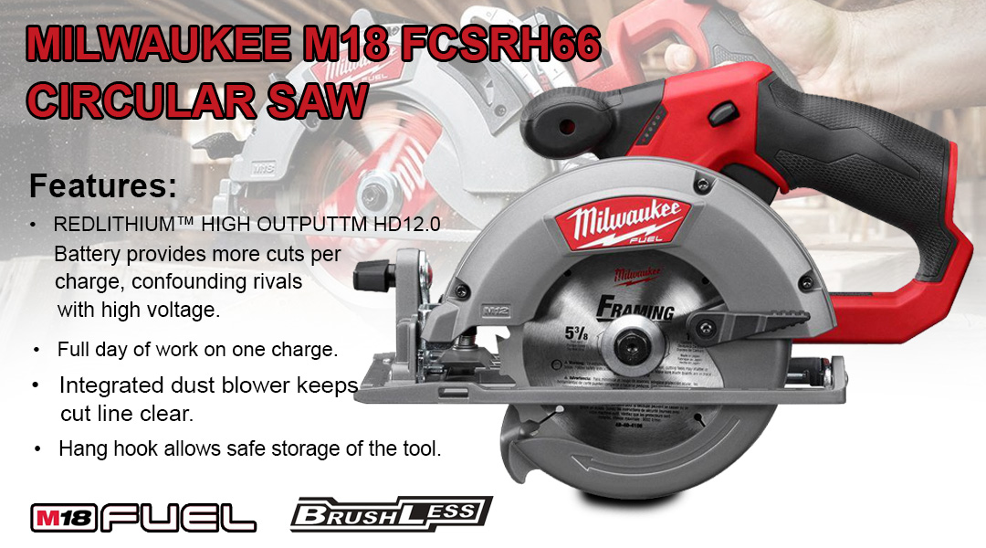 MILWAUKEE M18 FCSRH66 M18 FUEL™ REAR HANDLE CIRCULAR SAW FOR WOOD Toptopdeal topdeal