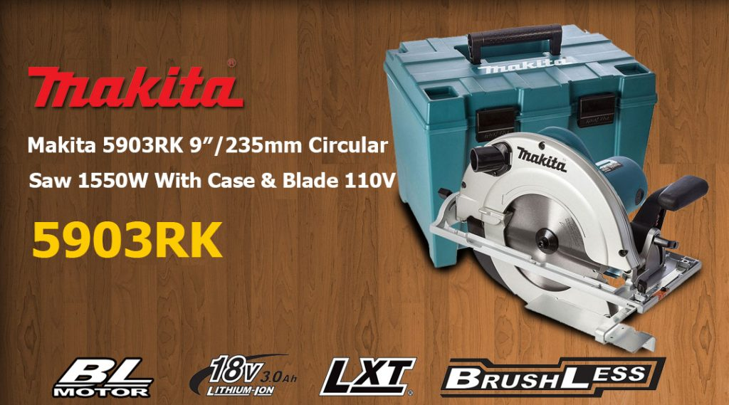 Toptopdeal Makita 5903RK 9″/235mm Circular Saw 1550W With Case & Blade 110V