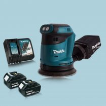 Makita DBO180Z 18V Li-Ion Random Orbit Sander & 2 x 3.0Ah Battery Charger