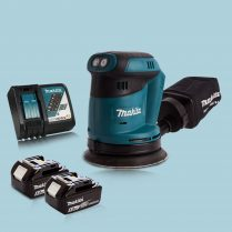 Makita DBO180Z 18V Li-Ion Random Orbit Sander & 2 x 5.0Ah Battery Charger