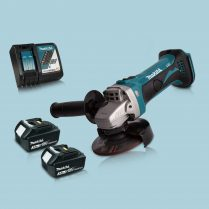 Makita DGA452Z 18V Cordless 115mm Angle Grinder & 2 x 3.0Ah Battery Charger