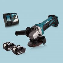 Makita DGA452Z 18V Cordless 115mm Angle Grinder & 2 x 5.0Ah Battery Charger