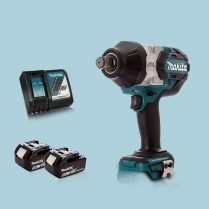 Toptopdea MAKITA DTW1001Z 18V Brushless 34″ Impact Wrench & 2 x 5.Ah Battery Charger
