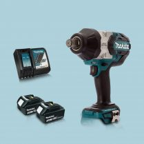 Toptopdeal MAKITA DTW1001Z 18V Brushless 3-4″ Impact Wrench & 2 x 3.Ah Battery Charger
