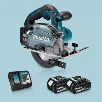 Toptopdeal Makita DCS553Z 18V BL 150mm Metal Cutting Saw & 2 x 5.0Ah Battery Charger