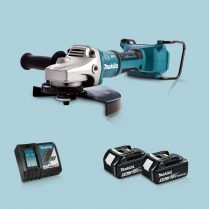 Toptopdeal-Makita DGA900Z 36V LXT BL 230mm Angle Grinder & 2 x 5 Ah Battery Charger