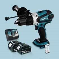 Toptopdeal Makita DHP458Z 18v Cordless Combi Drill Body & 2 x 3 Ah Battery Charger