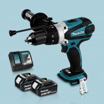 Toptopdeal Makita DHP458Z 18v Cordless Combi Drill Body & 2 x 5 Ah Battery Charger