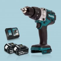 Toptopdeal Makita DHP481Z 18V Cordless BL Combi Hammer Drill & 2 x 5Ah Battery Charger