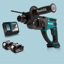 Toptopdeal Makita DHR202Z 18V LXT SDS+ Rotary Hammer Drill & 2 x 5 Ah Battery Charger