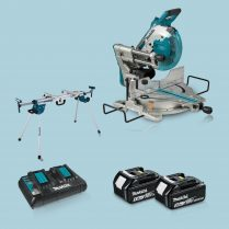 Toptopdeal Makita DLS110Z 18v 36v BL Compound Mitre Saw + 2 x 5 Ah+Charger & Stand