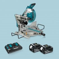 Toptopdeal Makita DLS110Z 18v 36v BL Compound Mitre Saw 2 x 5 Ah Twin Charger