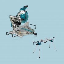 Toptopdeal-Makita DLS110Z 36V LXT BL 260mm Slide Compound Mitre Saw with Leg Stand