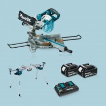 Toptopdeal Makita DLS714NZ 36V LXT BL Slide Mitre Saw & 2 x 5Ah Battery Charger+ Stand