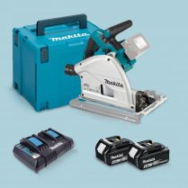 Toptopdeal Makita DSP600ZJ 36V BL Plunge Saw + 2 x 5 Ah Battery & Twin Charger in Case