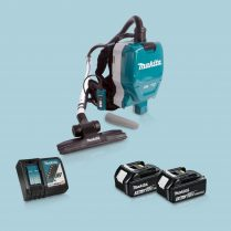 Toptopdeal-Makita DVC261ZX11 36V LXT Backpack Vacuum Cleaner & 2x 3 Ah Battery Charger