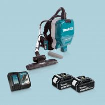 Toptopdeal-Makita DVC261ZX11 36V LXT Backpack Vacuum Cleaner & 2x 5 Ah Battery Charger