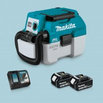Toptopdeal-Makita DVC750LZ 18V LXT BL L-Class Vacuum Cleaner & 2x 5 Ah Battery Charger