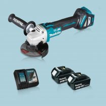 Toptopdeal Makita DGA463Z 18V LXT BL 115mm Angle Grinder & 2 x 3.0Ah Battery Charger