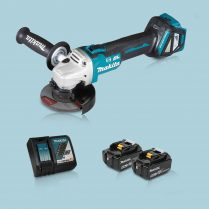 Toptopdeal Makita DGA463Z 18V LXT BL 115mm Angle Grinder & 2 x 5.0Ah Battery Charger