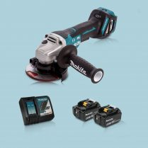 Toptopdeal Makita DGA467Z 18V LXT BL 115mm Angle Grinder & 2 x 5.0Ah Battery Charger
