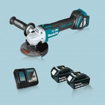 Toptopdeal Makita DGA513Z 18V LXT BL 125mm Angle Grinder & 2 x 3.0Ah Battery Charger