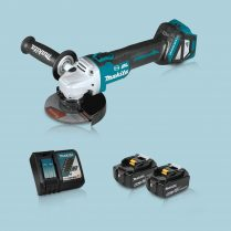Toptopdeal Makita DGA513Z 18V LXT BL 125mm Angle Grinder & 2 x 5.0Ah Battery Charger