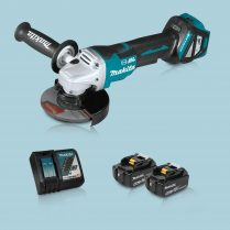 Toptopdeal Makita DGA517Z 18V LXT BL 125mm Angle Grinder & 2 x 5.0Ah Battery Charger