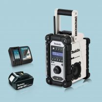 toptopdeal Makita DMR109W 18v LXT-CXT Job Site Radio White & 1 x 3-Ah Battery Charger