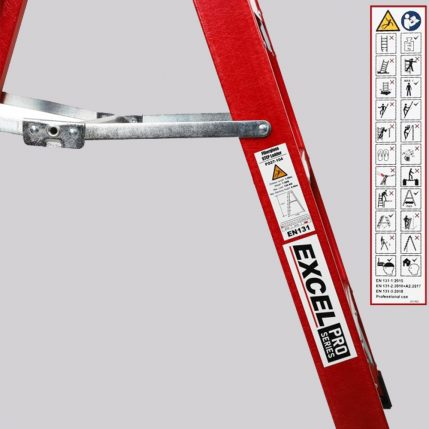 Excel 1-03M Fiberglass Step Ladder 4 Tread Heavy Duty Pro Series EX4STEPFL-2
