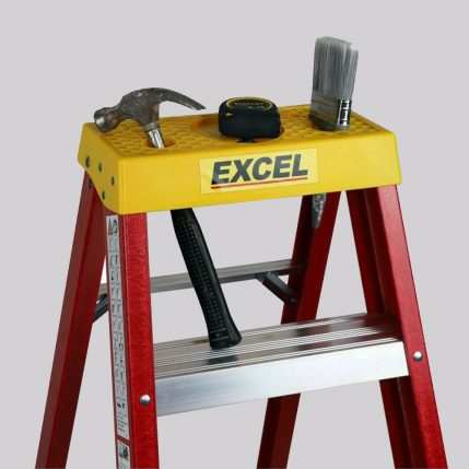 Excel 1-03M Fiberglass Step Ladder 4 Tread Heavy Duty Pro Series EX4STEPFL-3
