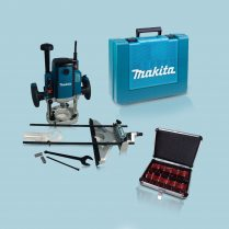 Toptopdeal- Makita RP1801XK 1 2 Plunge Router 1650W In Case 110V +1 2 12pc Cutter Set