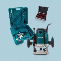 Toptopdeal-Makita RP2301FCXK 1 2 70mm Plunge Router Carry Case 240V + 12pc Cutter Set