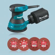 Toptopdeal uk Makita BO5030 5 125mm Random Orbital Sander & Bag 240V & 40 Sanding Pads
