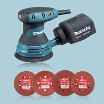 Toptopdeal uk Makita BO5031 5-125mm Random Orbital Sander & Bag 240V & 40 Sanding Pads