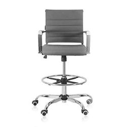 Toptopdeal Drafting Stool Office Chair Ergonomic Footrest Leather