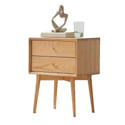Murong Solid Oak Bedside Table Light Oak Modern Bedside Cabinet Wooden Nightstand End Lamp Table With 2 Drawers
