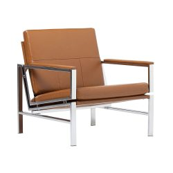 Studio Designs Home Modern Atlas Accent Chair for Living Room, Bonded Leather, Carmel, 72004