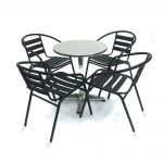 Toptopdeal-BE-Furniture-Black-Steel-Garden-Set---4-x-Black-Steel-Chairs-&-1-Glass-Table