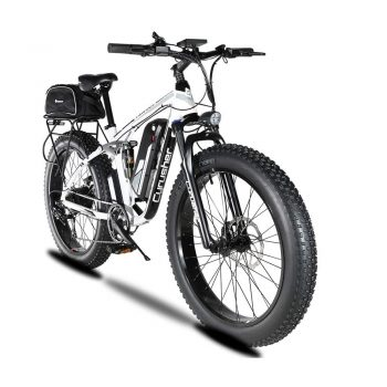 Toptopdeal Cyrusher Upgraded XF800 Electric Mountain Bike 750W-1500W Upto 35mph 26inch Fat Tire e-Bike 7 Speeds Beach Cruiser Sports Mountain Bikes Full Suspension