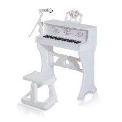 Toptopdeal-HOMCOM-37-Keys-Mini-Electronic-Keyboard-Light-Kids-Musical-Instrument-Educational-Game-Children-Grand-Piano-Toy-Set-w-Stool-&-Microphone-&-Music-Stand-(White)