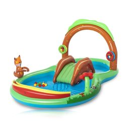 Toptopdeal-Inflatable-Swimming-Pool,-PVC-Material-Inflatable-Play-Center-Kids-Wading-Pool-Courtyard-Water-Center-With-Nozzle-Slide-And-Beads,-Suitable-For-Children-3-Years-Old-And-Above