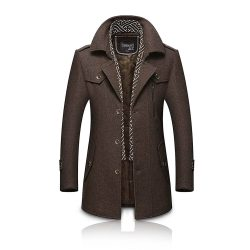 Toptopdeal-co-uk Volwassan Winter Warm Wool Coat Mens Trench Coat Long Business Woolen Jacket Casual Quilted Jacket Scarf Peacoat Overcoat