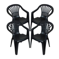 Toptopdeal-CrazyGadget-Plastic-Garden-Low-Back-Chair-Stackable-Patio-Outdoor-Party-Seat-Chairs-Picnic-Grey-Pack-of-4-(X4)