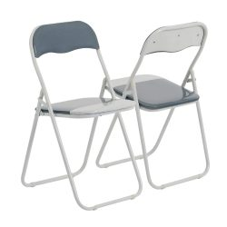 Toptopdeal-Harbour-Housewares-Cool-Grey-White-Padded,-Folding,-Desk-Chair---Pack-of-4