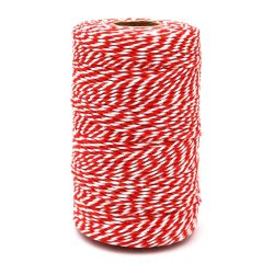 Toptopdeal-jijAcraft-Red-and-White-Christmas-String,200M-Durable-Craft-Cotton-String
